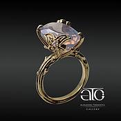 Украшения handmade. Livemaster - original item Gold ring with opalescent amethyst. 750. Handmade.