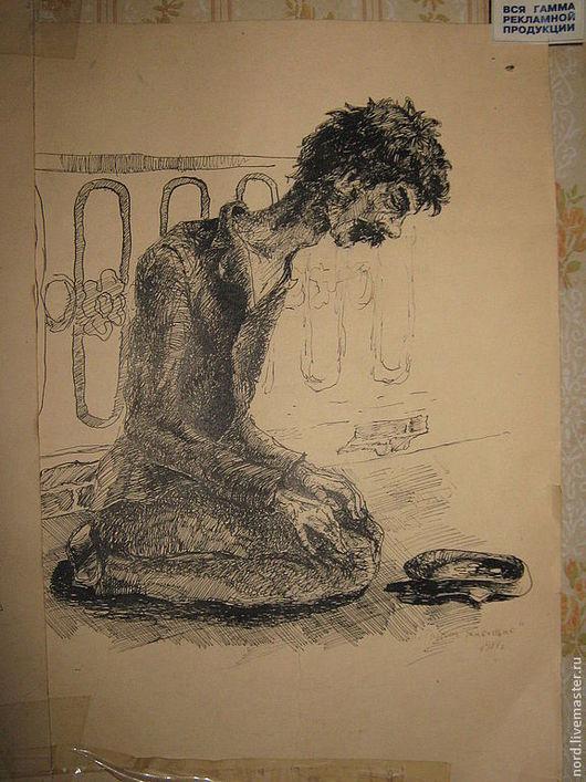 """Люди, ручной работы. Ярмарка Мастеров - ручная работа. Купить рисунок. тушь, перо"""" Живущие рядом"""". Handmade. Чёрно-белый"""