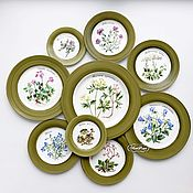 Посуда ручной работы. Ярмарка Мастеров - ручная работа Роспись фарфора Коллекция  тарелок на стену Ботаника на зеленом. Handmade.