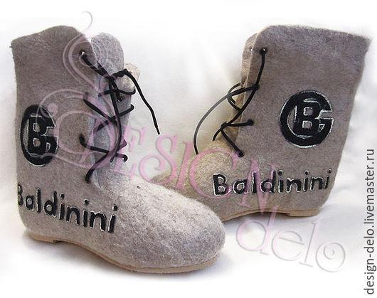 Обувь ручной работы. Ярмарка Мастеров - ручная работа. Купить Валенки мужские на подошве BALDININI. Handmade. Бежевый, валенки для улицы