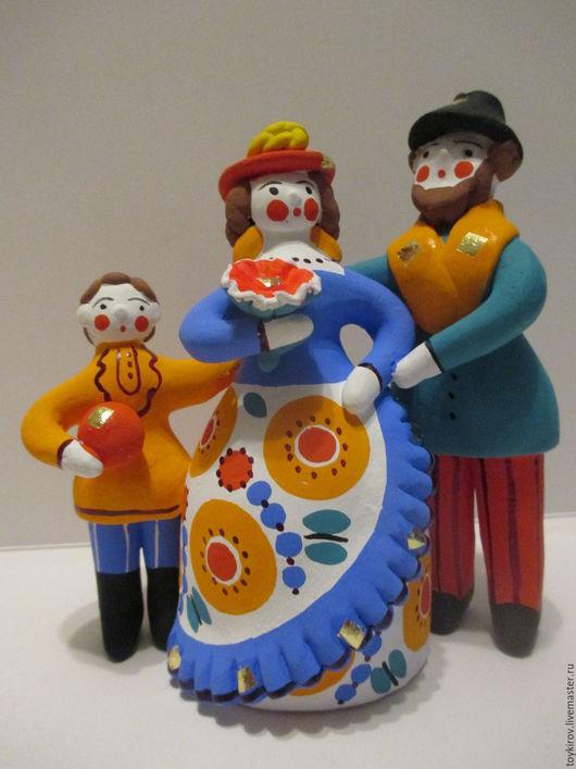 Статуэтки ручной работы. Ярмарка Мастеров - ручная работа. Купить Дымковские игрушки. Handmade. Подарок, интерьер, глиняная игрушка, промыслы