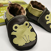 Работы для детей, handmade. Livemaster - original item Dark brown Baby shoes, Frog Slippers, Leather Baby moccasins. Handmade.