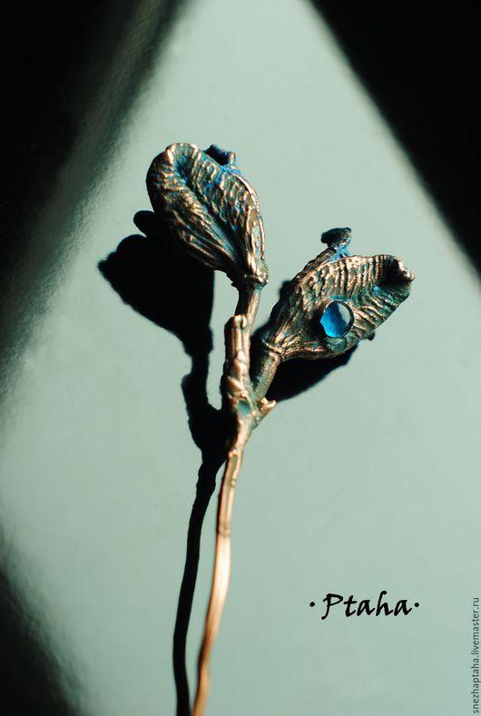 """Заколки ручной работы. Ярмарка Мастеров - ручная работа. Купить шпилька""""Бутоны"""". Handmade. Синий, медь, патинированная медь"""
