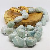 Работы для детей, handmade. Livemaster - original item Long Beads Sky of the North (beryl aquamarine) 80 cm. Handmade.