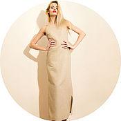 Одежда ручной работы. Ярмарка Мастеров - ручная работа Платье льняное на бретелях в пол. Handmade.