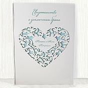 Свадебный салон handmade. Livemaster - original item Cover for marriage certificate (wedding folder made of wood). Handmade.