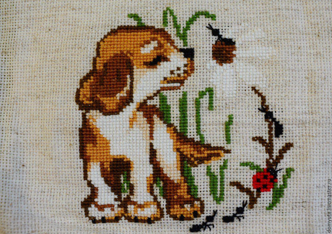 Собачка картинка для вышивки