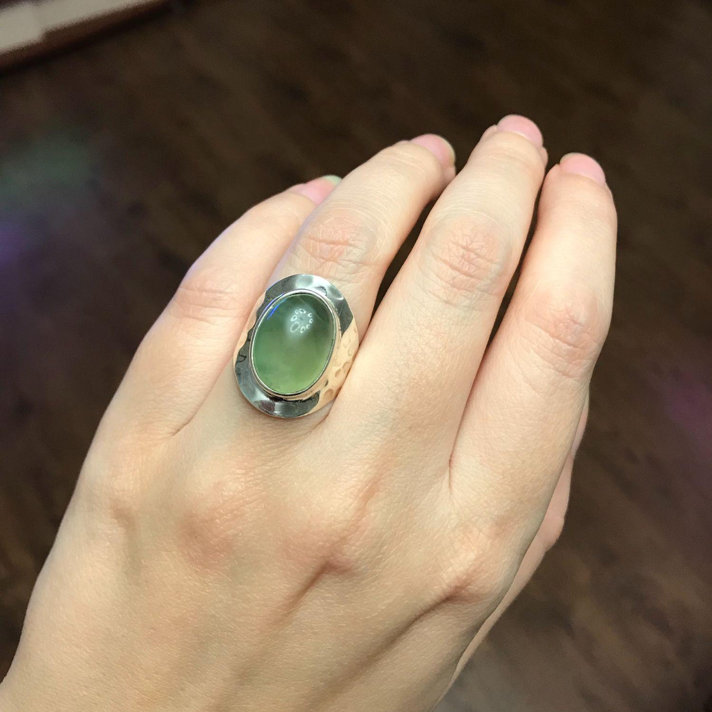 Винтаж: Стильное широкое кольцо с Пренитом, серебро 925, размер 17-17.3 – купить на Ярмарке Мастеров – KFI06RU | Кольца винтажные, Волгоград