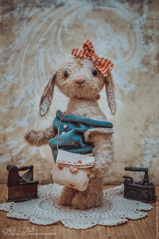 Мишки Тедди ручной работы. Ярмарка Мастеров - ручная работа. Купить Зайка Стефочка.. Handmade. Серый, зайчиха, бирюзовый цвет
