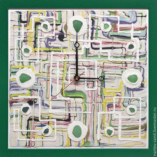 """Часы для дома ручной работы. Ярмарка Мастеров - ручная работа. Купить """"КРАСКИ ЛЕТА"""" часы из песка авторские. Handmade. Зеленый"""