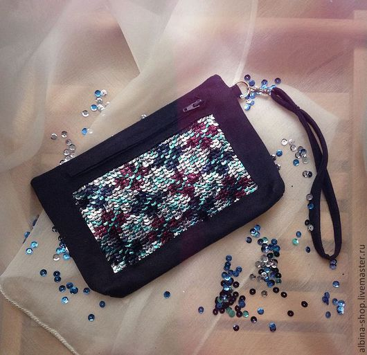 Женские сумки ручной работы. Ярмарка Мастеров - ручная работа. Купить Клатч с декоративной вышивкой. Handmade. Тёмно-синий, клатч