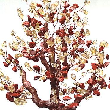 Цветы и флористика ручной работы. Ярмарка Мастеров - ручная работа Деревья: Из натуральных камней цитрин и яшма. Handmade.