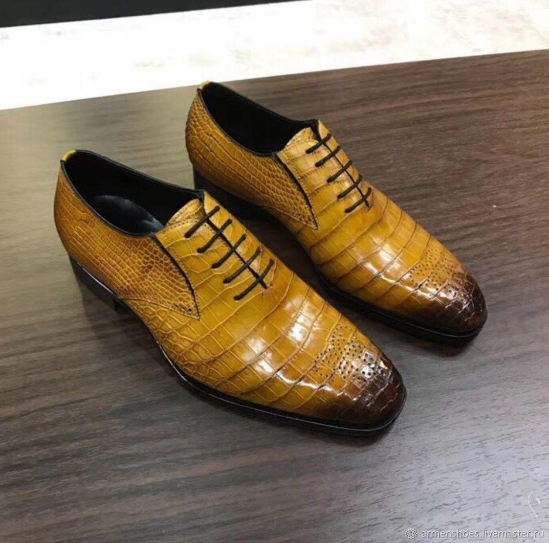 Oxfords with brogue, crocodile leather, handmade, custom made, Oxfords, Tosno,  Фото №1