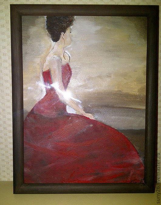 Люди, ручной работы. Ярмарка Мастеров - ручная работа. Купить Девушка в красном. Handmade. Картина, изящность, красное платье, нежность