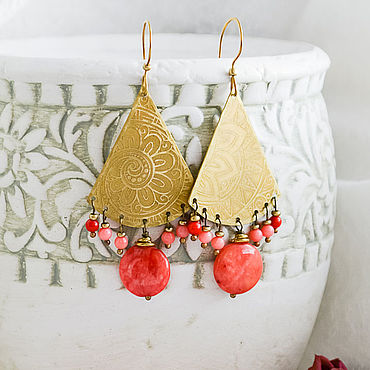 Decorations handmade. Livemaster - original item Boho earrings with coral Brass earrings coral Bright Oriental. Handmade.