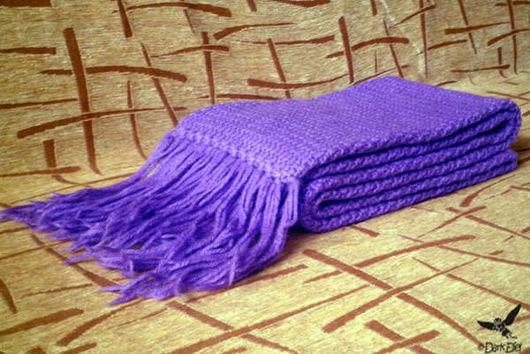 Шарфы и шарфики ручной работы. Ярмарка Мастеров - ручная работа. Купить Вязаный крючком тёплый шарф. Handmade. Фиолетовый, однотонный