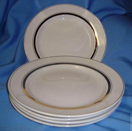 Винтажная посуда. Ярмарка Мастеров - ручная работа. Купить 5 тарелок для второго ЗиК 70е СССР. Handmade. Белый, тарелочка