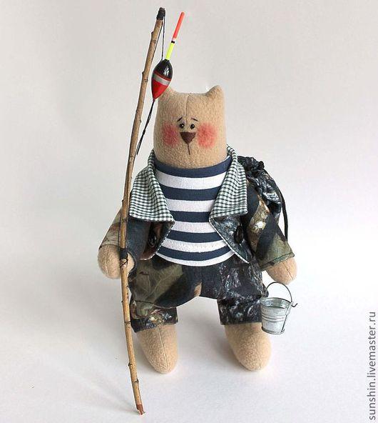 Игрушки животные, ручной работы. Ярмарка Мастеров - ручная работа. Купить Кот рыбак и охотник. Handmade. Хаки, рыбаку, флис