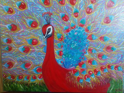 """Животные ручной работы. Ярмарка Мастеров - ручная работа. Купить картина """"Жар птица"""". Handmade. Комбинированный, холст на подрамнике"""