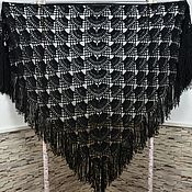 Аксессуары handmade. Livemaster - original item Shawl crocheted NIGHT 220*130 cm triangular with tassels k. .080. Handmade.