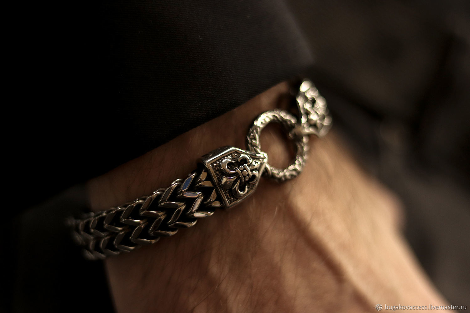Steel bracelet unisex with Royal lily, Chain bracelet, Moscow,  Фото №1