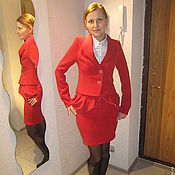 Одежда ручной работы. Ярмарка Мастеров - ручная работа Красный костюм. Handmade.