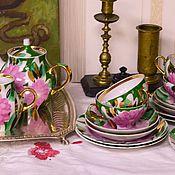 Винтаж handmade. Livemaster - original item Tea set of Gergen Dulyovo. Handmade.