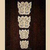Аппликации ручной работы. Ярмарка Мастеров - ручная работа Аппликация Ажурные бабочки нашивка кружевная вышитая. Handmade.