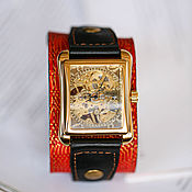 Украшения handmade. Livemaster - original item Mechanical watch Quadro Red Dragon leather strap. Handmade.