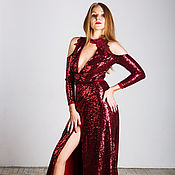 Одежда handmade. Livemaster - original item Burgundy wrap dress. Handmade.
