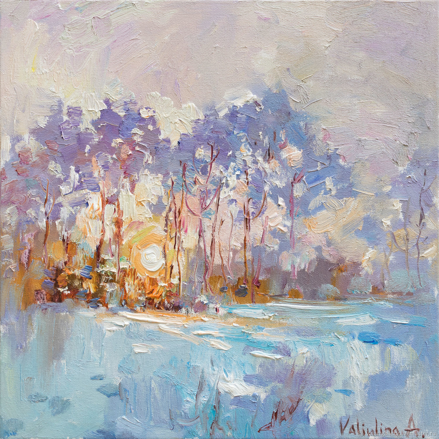 Winter forest landscape at sunset Original oil painting, Pictures, Anapa,  Фото №1