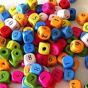 Материалы для творчества ручной работы. Ярмарка Мастеров - ручная работа Бусины деревянные Кубики с цифрами. Handmade.