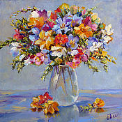 Картины и панно handmade. Livemaster - original item Oil painting wild flowers a Bouquet of freesias,a bouquet of flowers in a vase. Handmade.