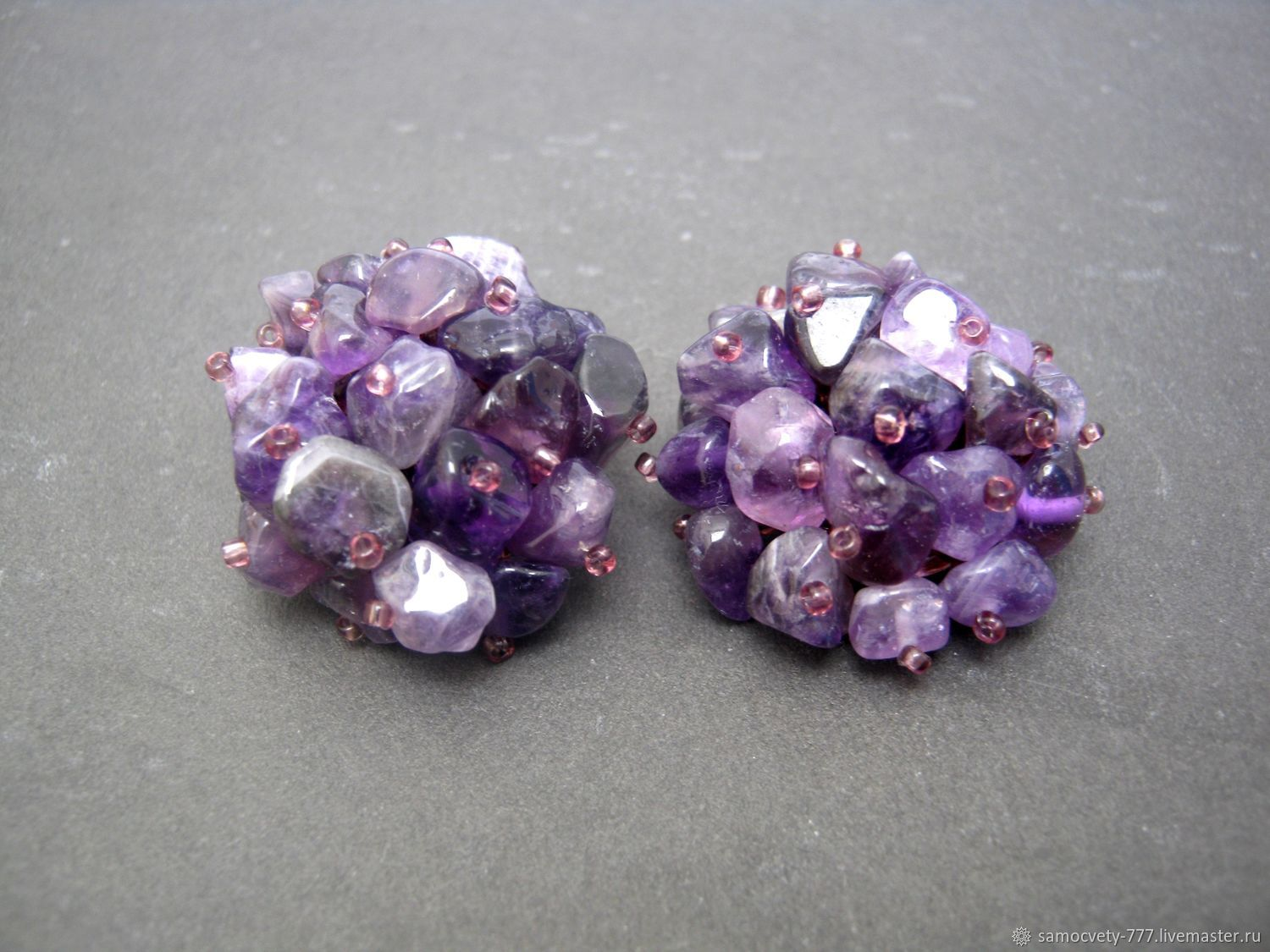 A Nice Clip With Natural Stone Amethyst Samocvety Online Earrings Handmade
