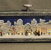 """Для дома и интерьера ручной работы. Ярмарка Мастеров - ручная работа Панорама с подсветкой """"Зима в старом городе"""". Handmade."""