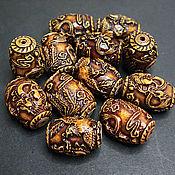 Материалы для творчества handmade. Livemaster - original item Beads Carved Buffalo Bone Crane and Dragon 32h23mm. Handmade.