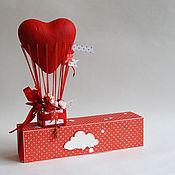 """Открытки ручной работы. Ярмарка Мастеров - ручная работа Открытка с пробиркой   """"Воздушный шар-сердце"""". Handmade."""