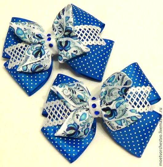 """Заколки ручной работы. Ярмарка Мастеров - ручная работа. Купить Бантики для волос """"Гжель""""  в голубом цвете. Handmade. Бантик"""