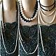 Длинные жемчужные бусы черно белого цвета купить в Москве модное красивое стильное украшение бижутерия ручной работы  подарок для женщины фото