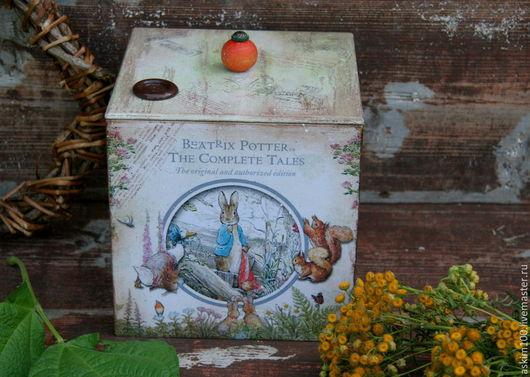 """Корзины, коробы ручной работы. Ярмарка Мастеров - ручная работа. Купить """"Кролик Питер"""" большой короб для игрушек и мелочей. Handmade. Разноцветный"""