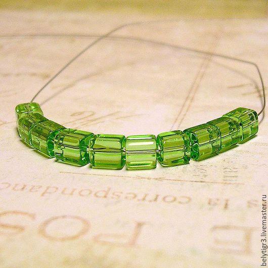бусина граненая кубик, 4 х 4 мм, стекло, цвет зеленый, 1 шт
