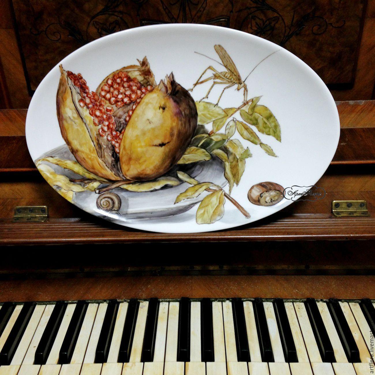Painted porcelain. Oval dish 'Pomegranate and grasshopper', Plates, Kazan,  Фото №1