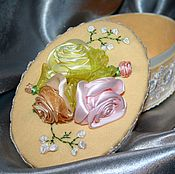 "Для дома и интерьера handmade. Livemaster - original item Box, flowers, ribbon, jewelry box with flowers ""Tenderness"". Handmade."