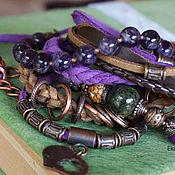 Украшения handmade. Livemaster - original item Boho-chic arm bracelet with amethyst and Jasper