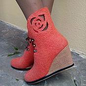 Обувь ручной работы. Ярмарка Мастеров - ручная работа Эко -сапожки из шерсти Абрикоски. Handmade.