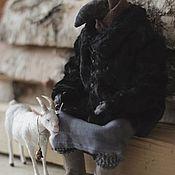 Куклы и игрушки handmade. Livemaster - original item interior doll: The old woman and the goat Zimka. Handmade.