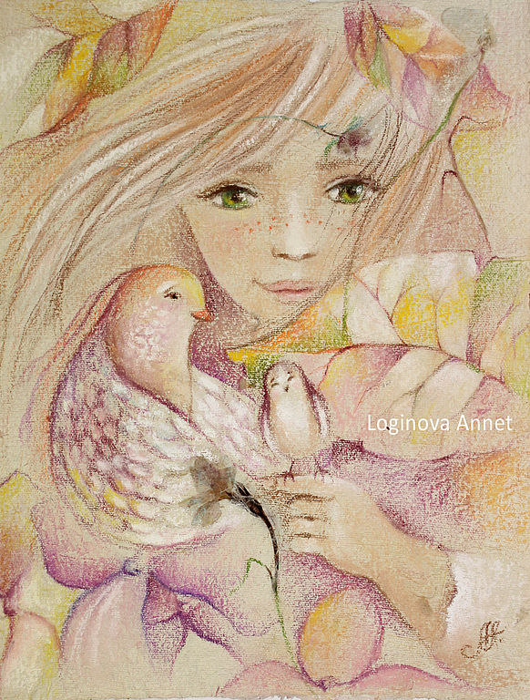 Фэнтези ручной работы. Ярмарка Мастеров - ручная работа. Купить Нежный птах. Handmade. Осень, кремовый, зеленые глаза, лепестки