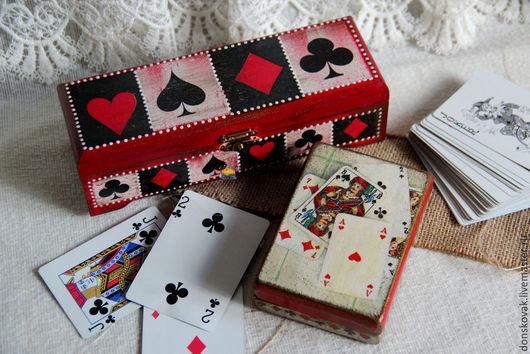 Персональные подарки ручной работы. Ярмарка Мастеров - ручная работа. Купить Шкатулка для карт. Handmade. Карты, шкатулка деревянная, Аппликация