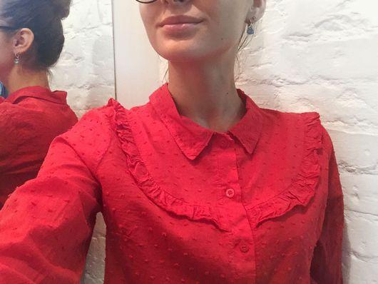 """Блузки ручной работы. Ярмарка Мастеров - ручная работа. Купить Блуза """" Красный волан"""". Handmade. Блуза, волан, хлопок"""