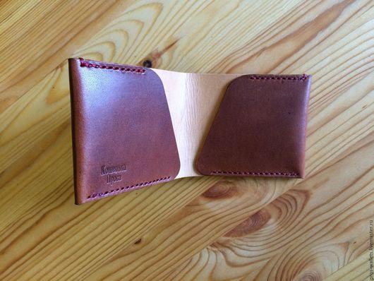 Кошельки и визитницы ручной работы. Ярмарка Мастеров - ручная работа. Купить Надежный бумажник из кожи сделанный вручную, коричневый. Handmade.